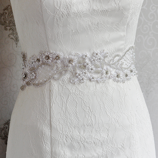 TOPQUEEN S53 Stock Free shipping Elegant High Quality Pearls Bridal Belt  Beaded Waist Belt Ladies Belts wide leather belt
