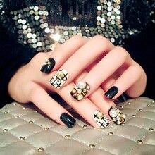 New 24pcs rivets/pearls/rhinestones parts short square False Nail Art With Glue black/white Fake Nail Tip Finished manicure nail