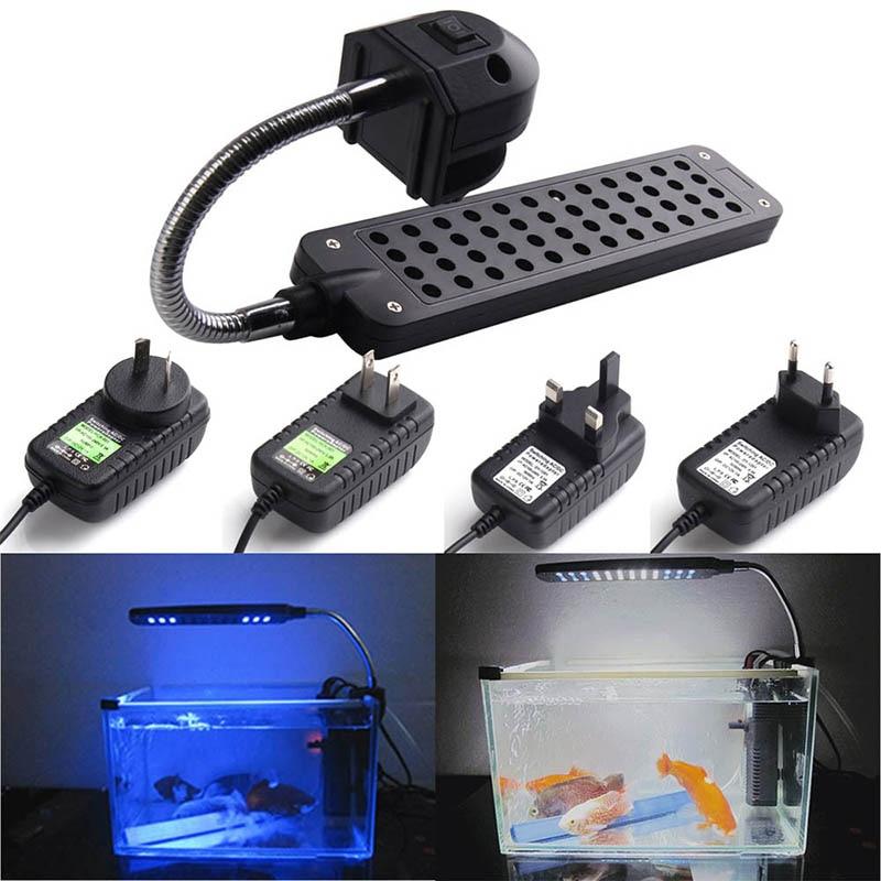 New High Quality Aquarium Parts Supplies DC12V 48LED Flexible Aquarium Fish Tank Clip Light Lighting Lamp White+Blue DA