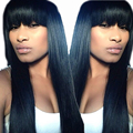 7A Full Lace Wigs With Bangs Wigs With China Bangs Glueless 130% Straight Brazilian Lace Front Human Hair Wigs For Black Women