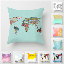 Fuwatacchi 2019 Pillow Case World Map Print Cases Gradient Colorful Throw Cover Decorative Sofa Home Office Decor