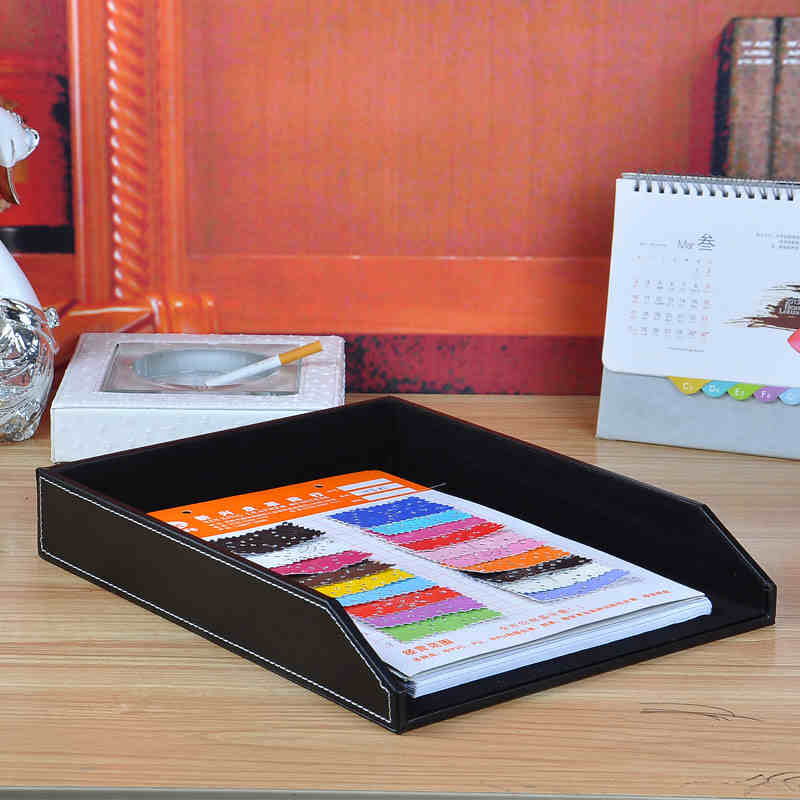 A4 Leather Wooden Office Desk File Document Tray Magazine Paper Box Table Organizer Documents