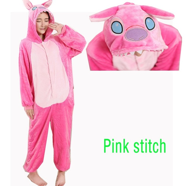 Winter Homewear Kigurumi For Adults Cute Animal Stitch Lilo Long Sleeve Hooded Onesie