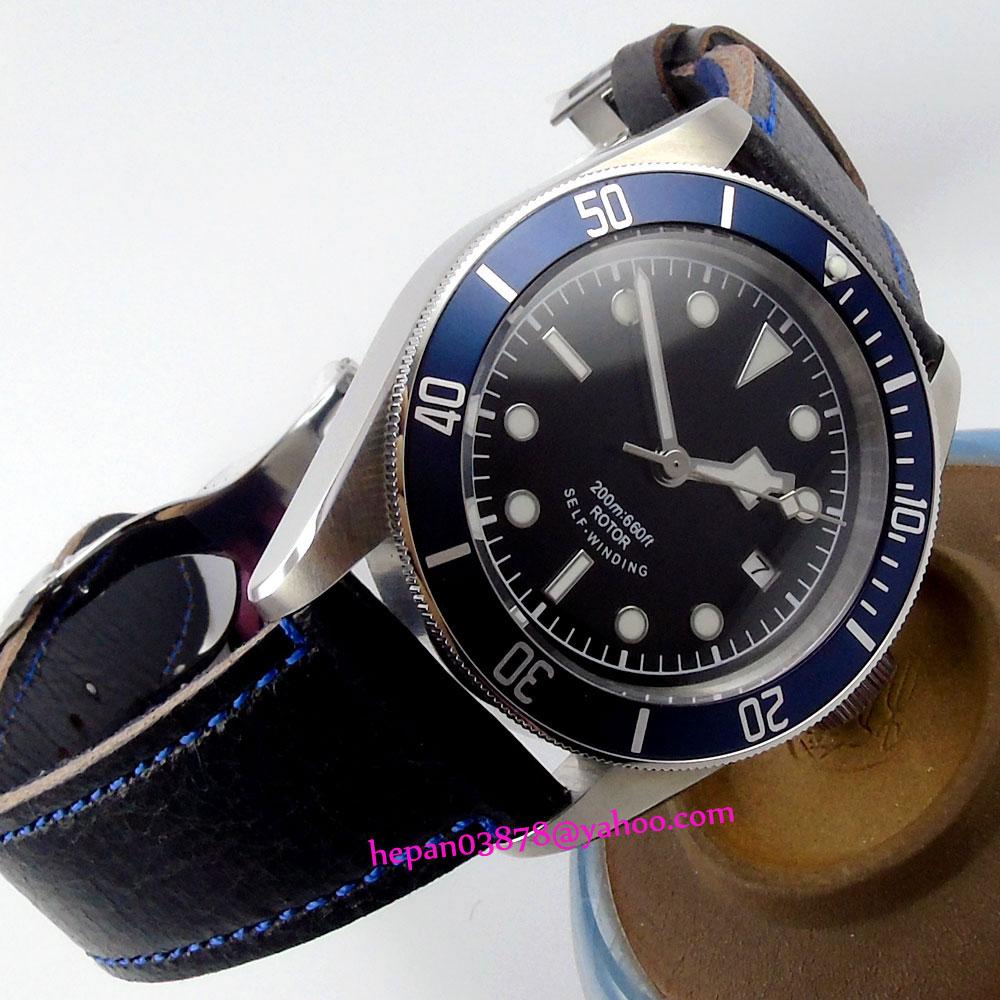 41mm Corgeut black sterile dial luminous blue Bezel sapphire glass MIYOTA Automatic Mens watch P18041mm Corgeut black sterile dial luminous blue Bezel sapphire glass MIYOTA Automatic Mens watch P180