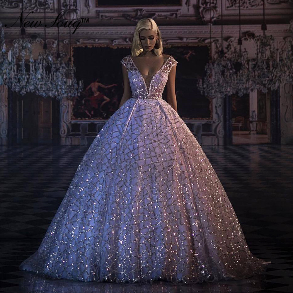 White   Evening     Dress   V Neck Prom   Dresses   2019 Puffy Party   Dress   For Weddings Abendkleider Kaftan Dubai Arabic Formal   Dresses