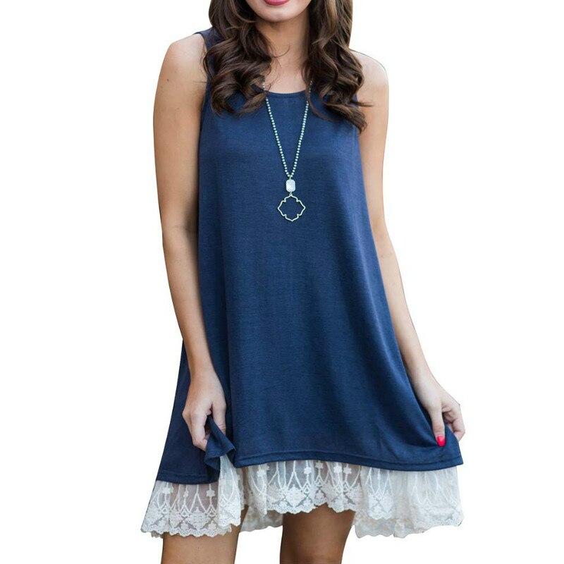 Femme Lace Dress Plus Size Boho Beach Sundress Summer Women Dress 2018 Sexy Casual Sleeveless Mini Dress Girls