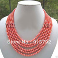 "free shipping >>>>>LONG 100"" GENUINE PINK CORAL 6MM NECKLACE"