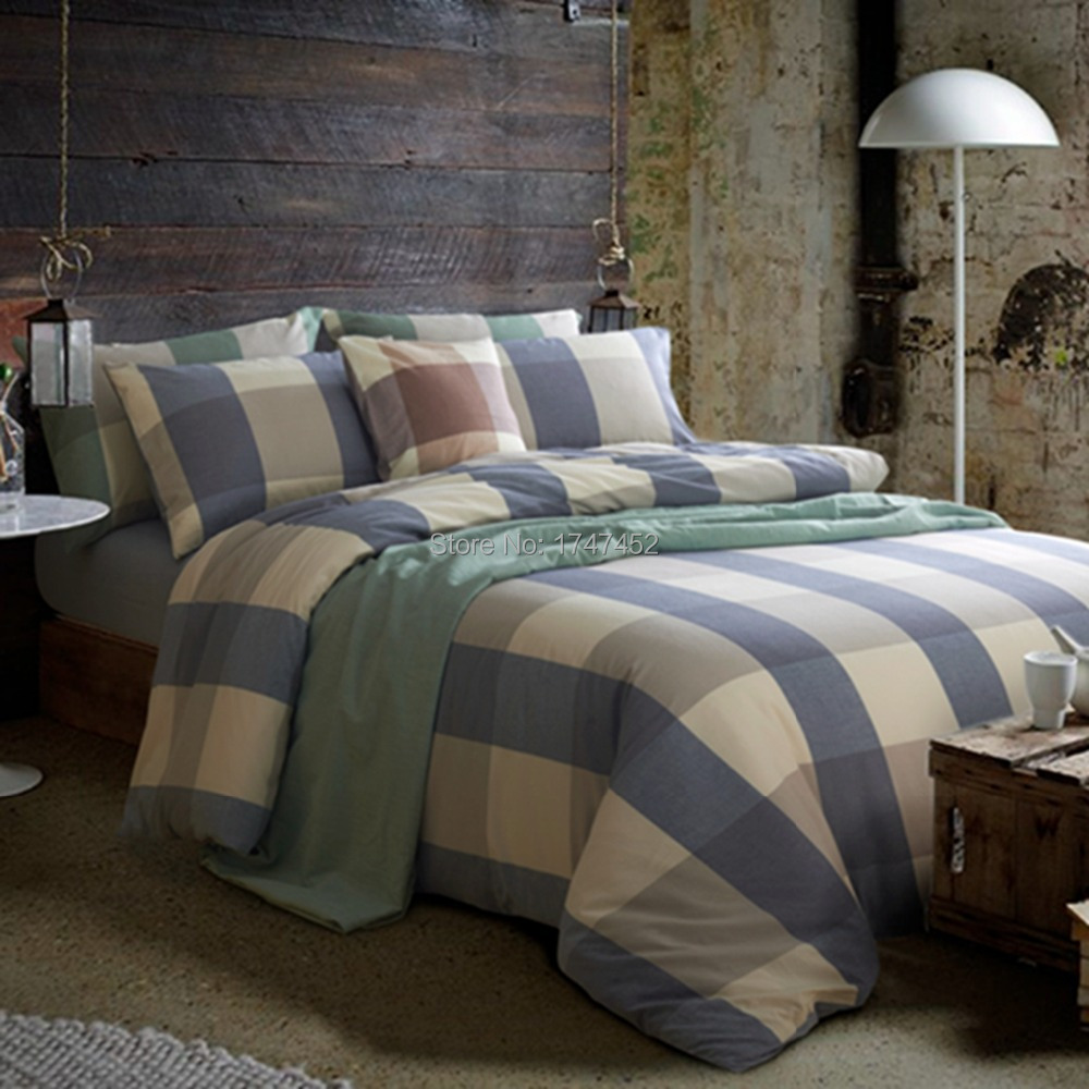 Yarn Dyed Check Duvet Cover Set Blue Grey In Bedding Sets From Home Garden On Aliexpress Alibaba Group