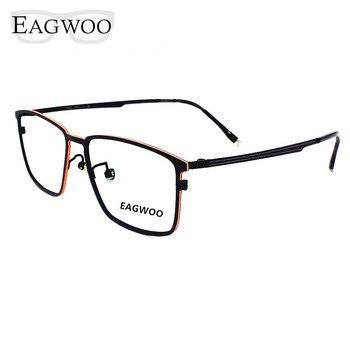 07659c18dc Gafas de titanio puro Metal borde completo marco óptico prescripción gafas  Vintage para hombres gafas de ojos nuevo 57082