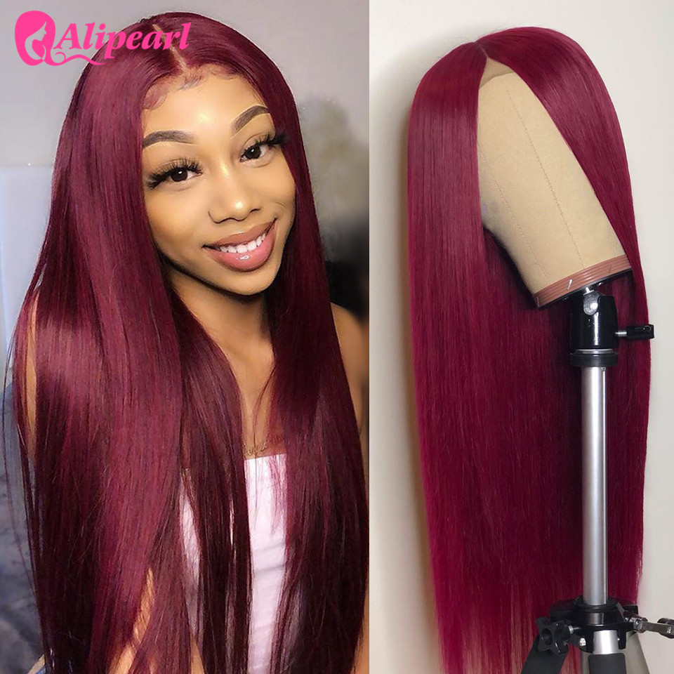 AliPearl Hair Straight Lace Front Human Hair Wigs For Black Women 99J Brazilian Virgin Hair Wigs Pre Plucked 150% 180% Density