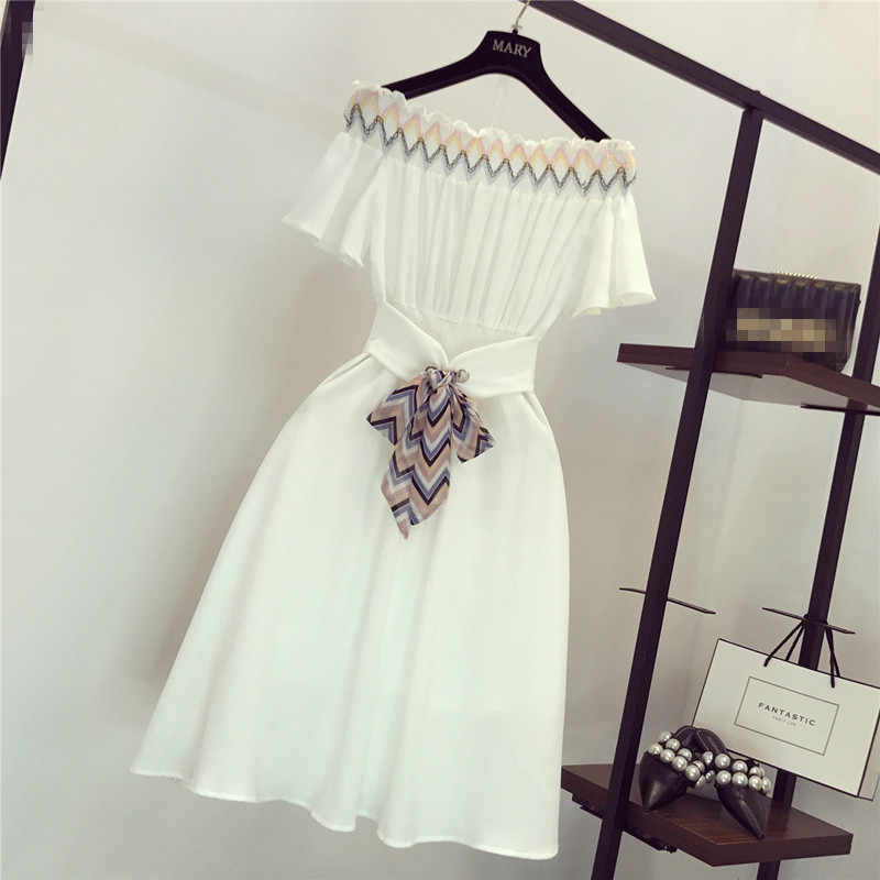 Casual Solid Women Dress Off Shoulder Slash neck Elastic Waist Sashes Knee-length Dresses Female Fashion Summer Beach Dress