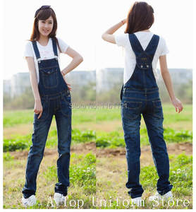 9217231463fc Women Casual autumn Long Denim Jeans Trousers Bib Overalls