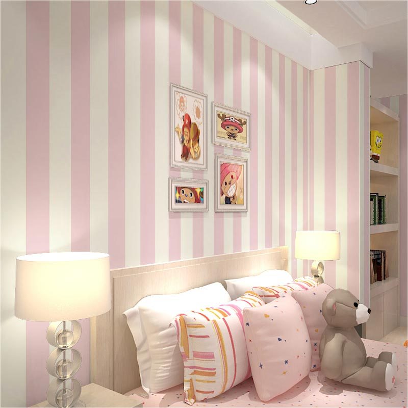 Modern Vertical Striped Cozy Bedroom Non Woven Paper Wallpaper For Kids Room Blue White Stripe