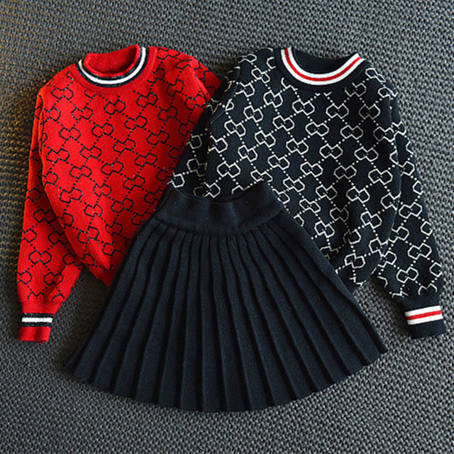 52f342e0c Spring Autumn Full Print Pattern Baby Girls Knitted Sweater Top+Black Skirt Kids  Clothing Set for Girls Brands Red Clothes Set