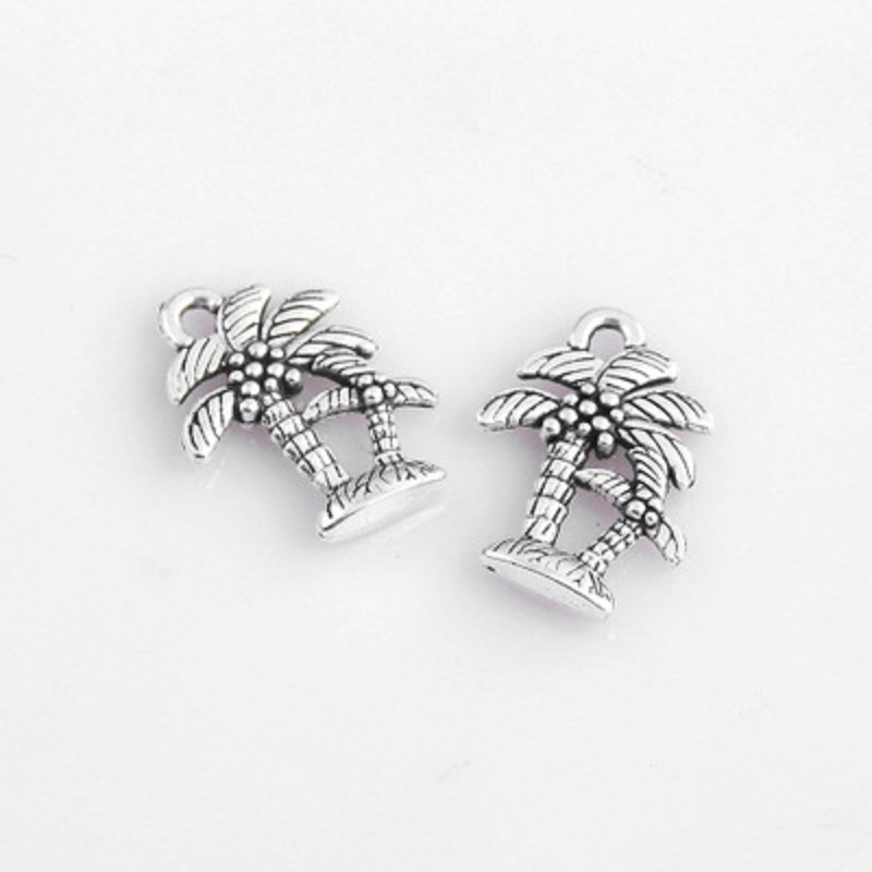 TJP 20 pcs Antique Silver Tone Coconut Palm Tree Plant Charms Pendants 2 Sided for Bracelets DIY Jewelry Making Findings 15x19mm in Charms from Jewelry Accessories