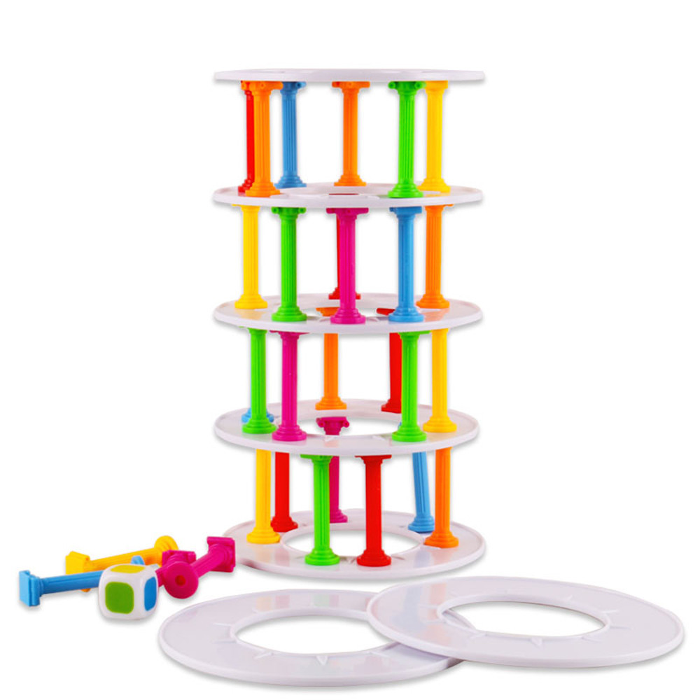 Board games Challenge Funny Game Plastic Toy Girls Boys Wobbly Tower Collapse Game Stack ...