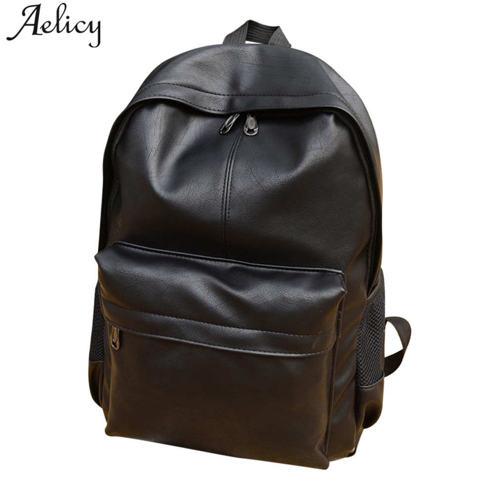 Aelicy Fashion Backpacks PU Leather Backpack Male Laptop Backpack Leather Bag Black Teenager School Bags Mochila Travel Backpack цена