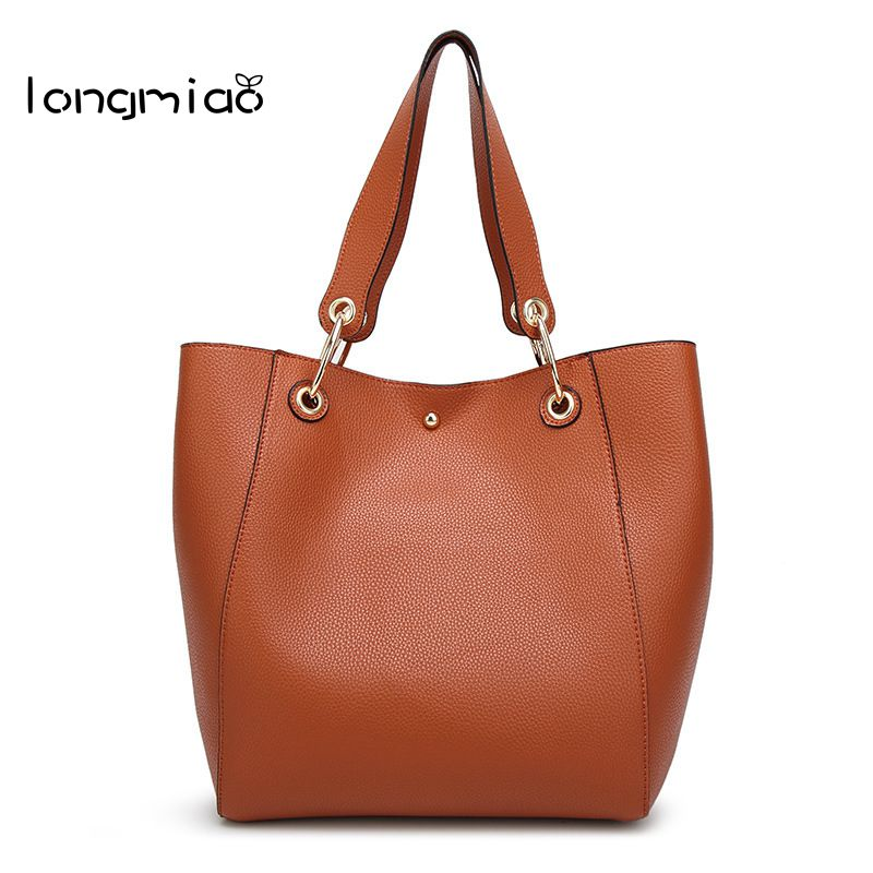 longmiao Brand High Quality Women Leather Handbag Solid Color Ladies Shoulder Bag Large Capacity Casual Tote Composite Bag