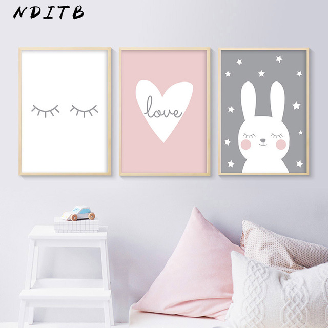 NDITB Rabbit Heart Nursery Wall Art Canvas Painting Cartoon Posters and Prints Decorative Picture Nordic Style Kids Decoration