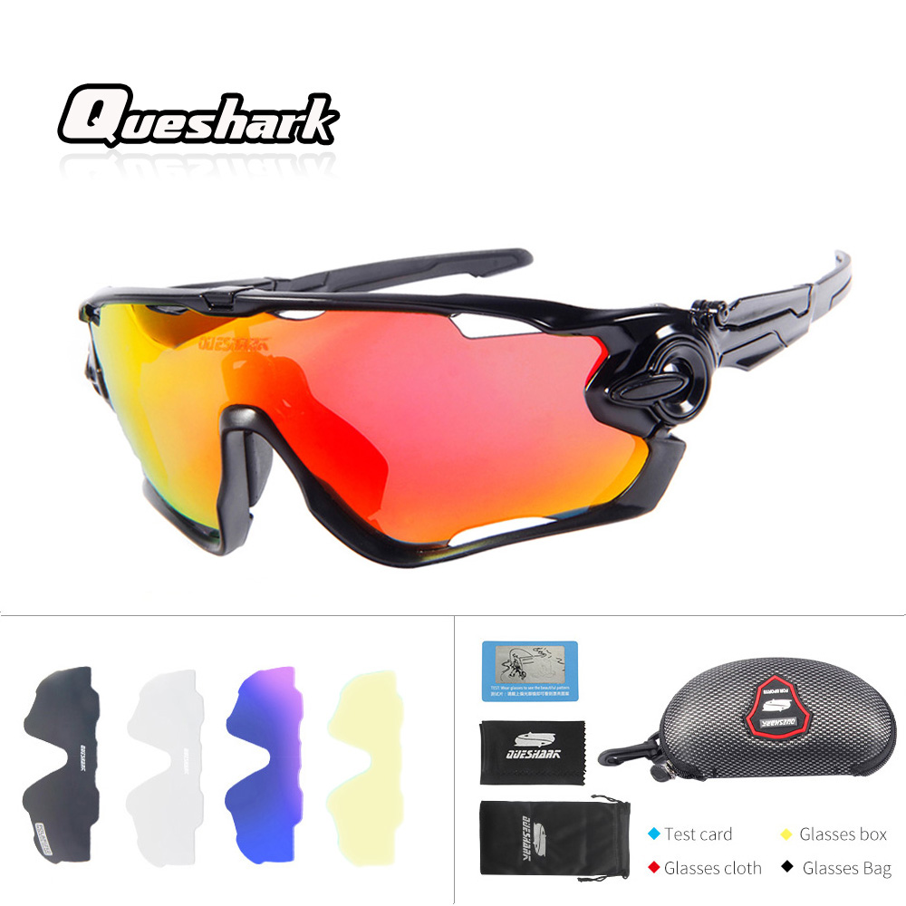 Queshark Professional 2018 New Arrival 5 Lens Set Polarized Fishing Glasses Bike Goggles Racing Eyewear Outdoor