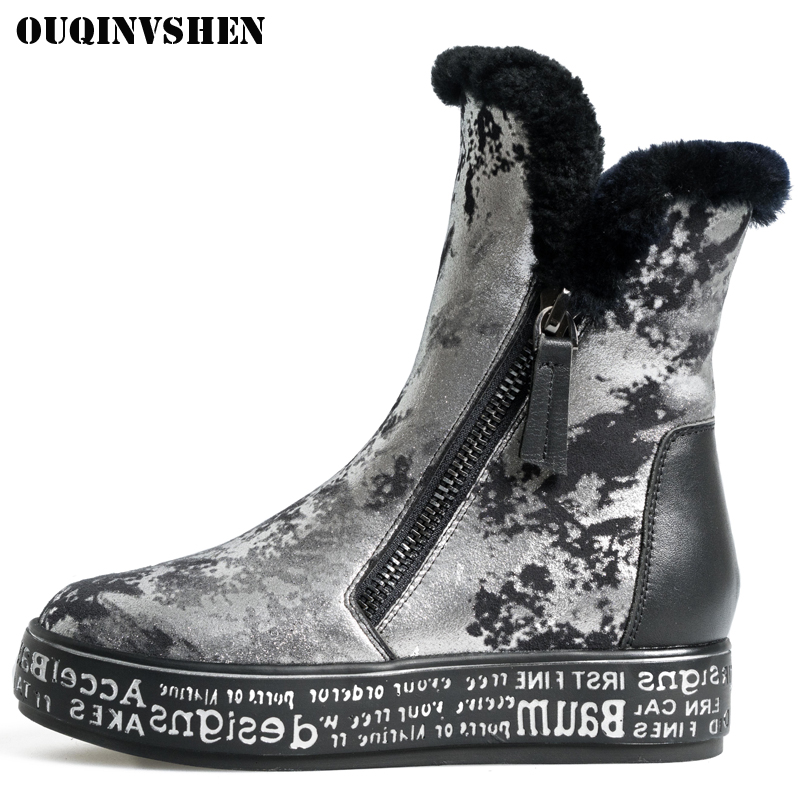 OUQINVSHEN Round Toe Flat with Women's Snow Boots Winter Wool Sheepskin Ladies Ankle Boots Platform Print Women Snow Boot Shoes 2016 rhinestone sheepskin women snow boots with fur flat platform ankle winter boots ladies australia boots bottine femme botas