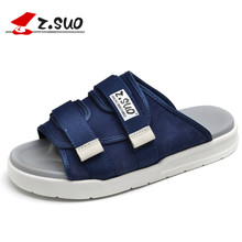 Z.SUO New Summer Microfiber with braid PU Sole Male Sandals British Retro Slip On Style Men's Fashion Leisure Shoes ZS18600