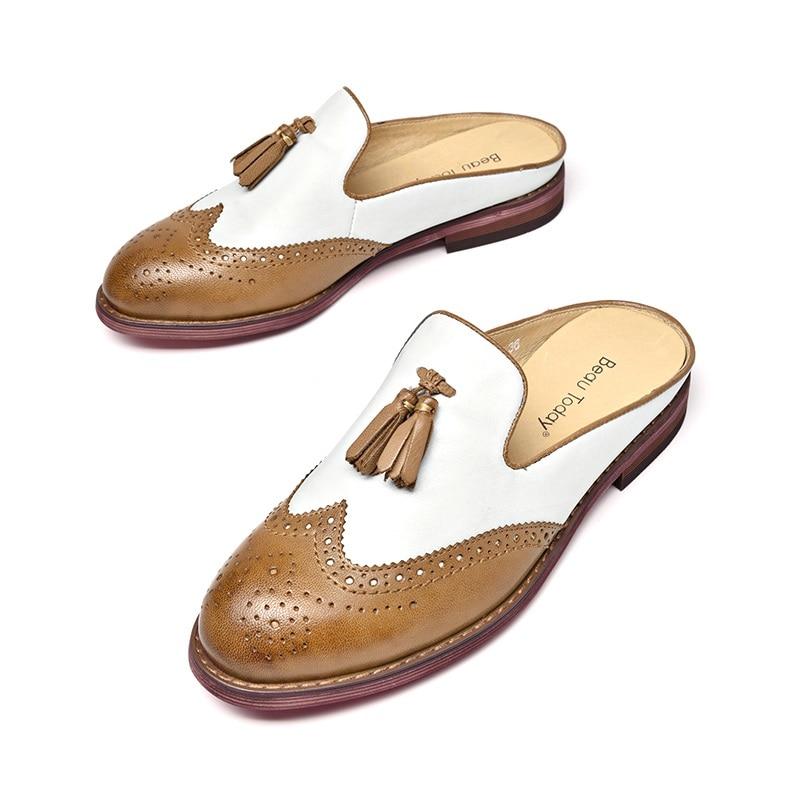 Beautoday Genuino Redonda Del En Mano 36037 Femenino Dedo Mulas Wingtip Black A Pie Colores Mujeres Hecho De brown Zapatos Brogue Resbalón Cuero Mezclados Borlas rw8nrx4qYX
