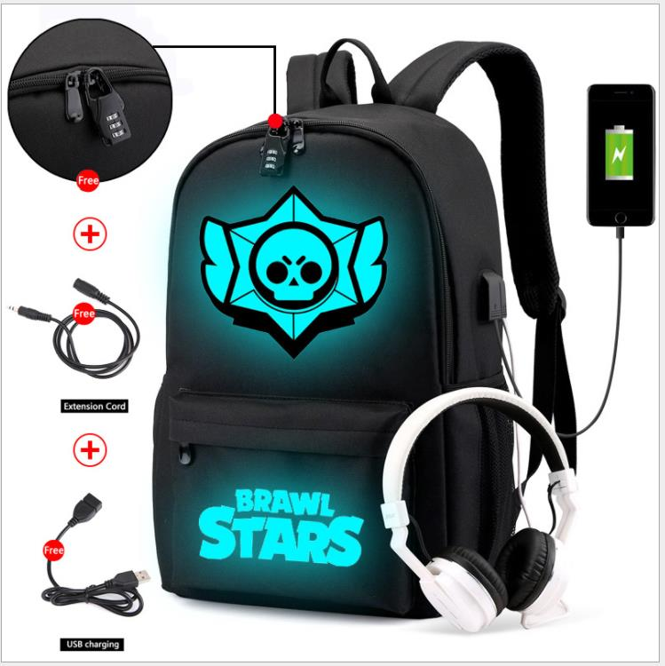 New Games Luminous School Bag Waterproof Brawl Stars Anti-theft Laptop Backpack For Teenager Boys Girls Student School Mochilas