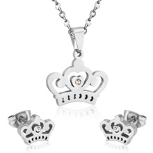 Stainless Steel Crystal Crown Shape Pendant+Earrings Set