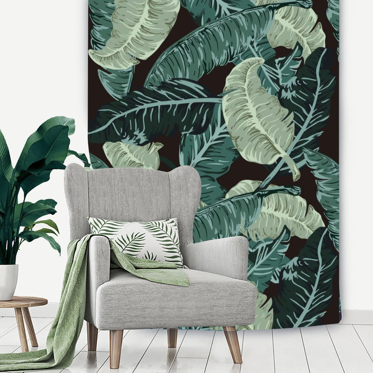 Green Tropical Cactus Palm Tree Leaves Flower Decorative
