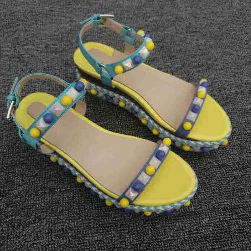 Mujer Alto Color Sandalias 5cm De 12cm 2019 Gladiador Zapatos Mujeres Verano Cuña Señoras Cuñas Las Caramelo 6 Moda Remache Nueva Tacón Heels Heels xO0ZrqOwH