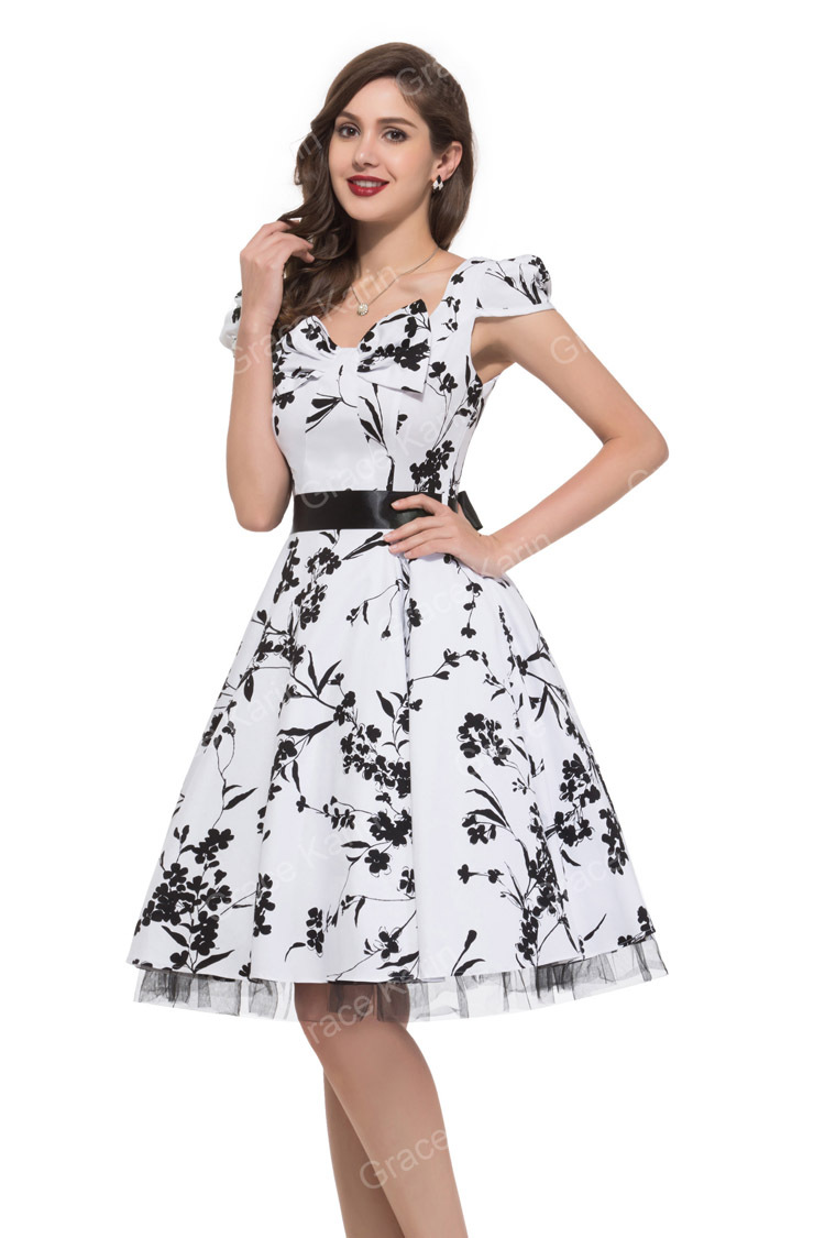 Grace karin 2015 new summer black and white floral print 50s grace karin 2015 new summer black and white floral print 50s rockabilly vintage dress casual prom short party dresses for women in mens costumes from mightylinksfo