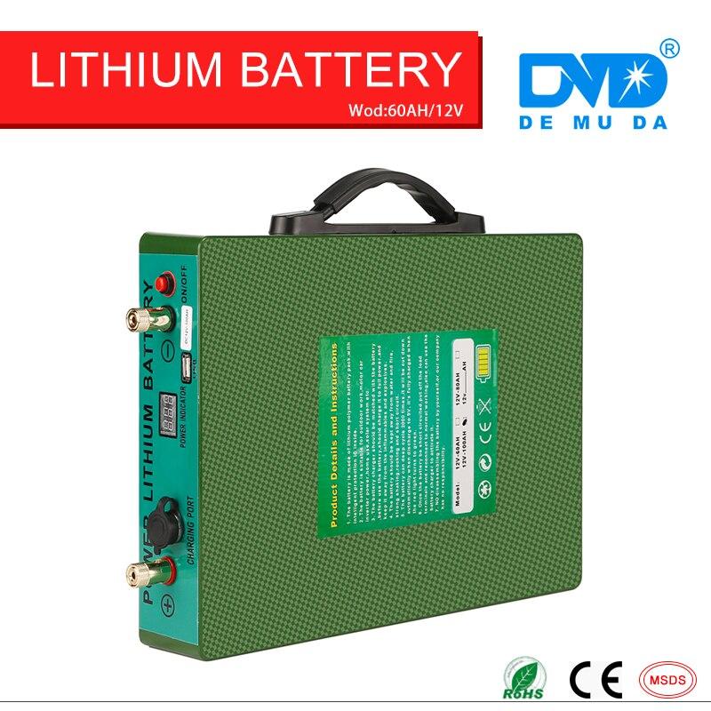 Глубокий циклов длинные разряда ультра тонкий литий полимерный 12 В 24 В 60ah литиевая батарея Бесплатная доставка