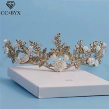 CC&BYX Handmade Crown Tiara Beads Hair Ornaments Crowns For Beauty For Women Wedding Bridal Hair Brides Tiaras Accessories 8644