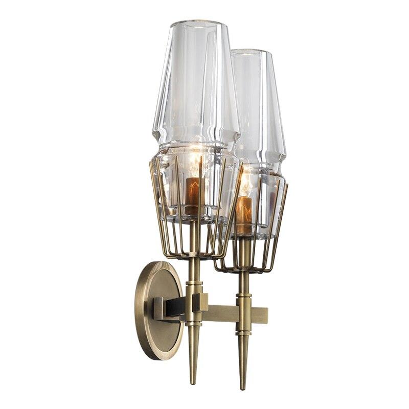 Современный настенный светильник 2 Arm Стекло бра светильник из золотистого металла для Ванная комната коридор Спальня свет E27 toolery дома Осве