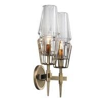 Современный настенный светильник 2 arm Стекло бра светильник из золотистого металла для Ванная комната коридор Спальня свет E27 Toolery домашнего
