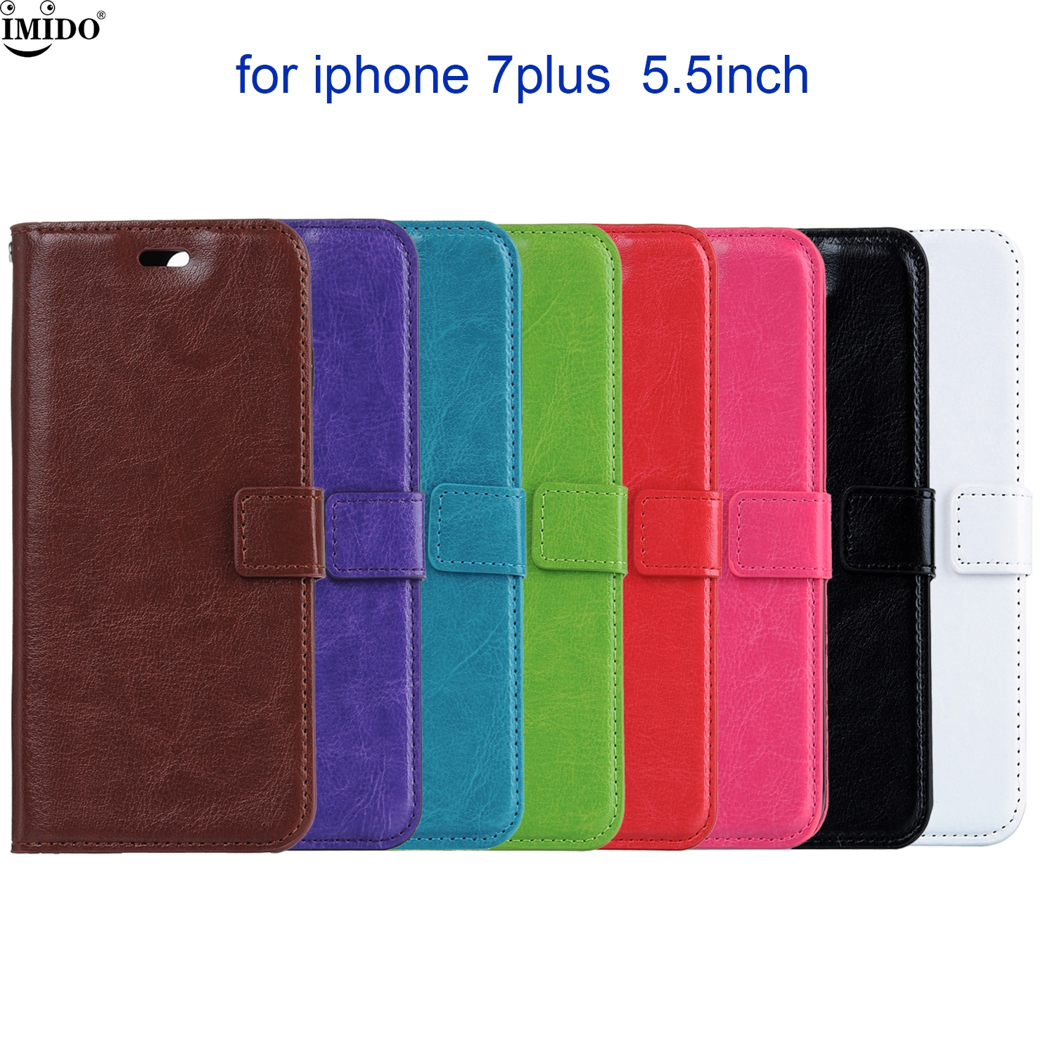 8 Patterns Pureed Color Retro Leather Flip Case For Apple 7plus / iPhone 7 plus; 5.5 iPhone7plus 2017 new Vintage Phone Holster