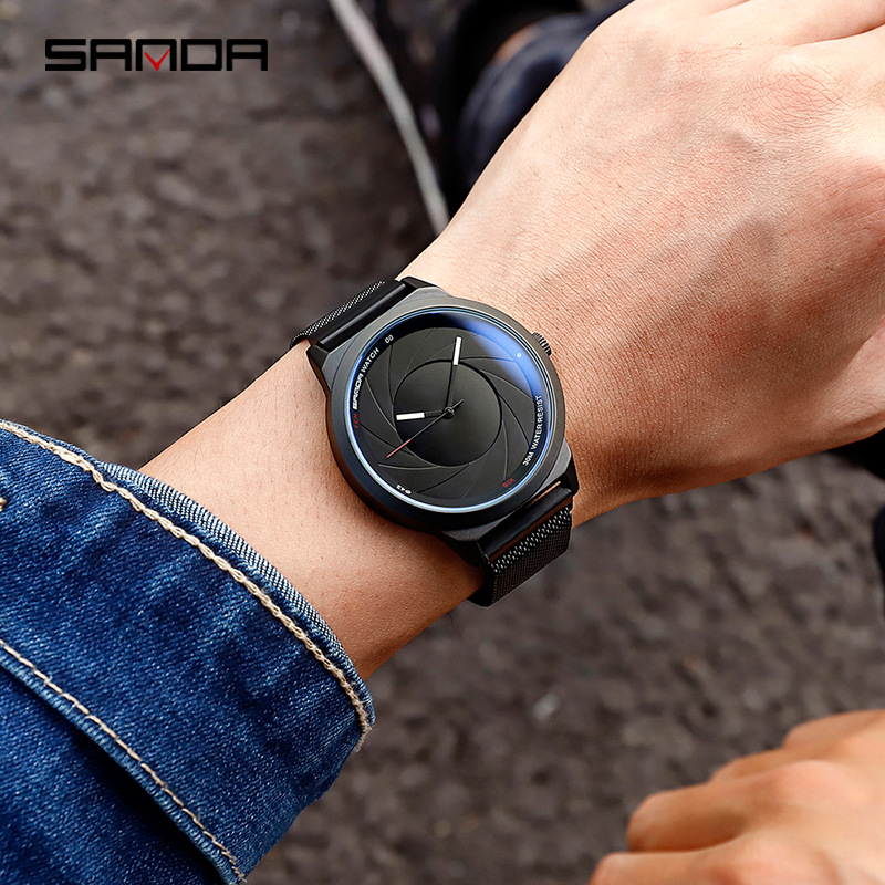 Sanda Creative New Concept Optical Watch Wormhole Men and Women Couple Students Korean Version of The Simple Fashion Watch