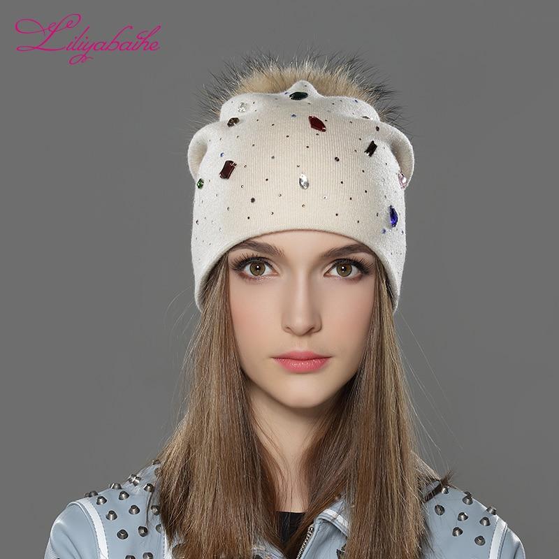 LILIYABAIHE Жіноча зимова шапка з вовни В'язані шапочки Шапочки справжній єнот хутра Pom Pom Шапки Класичний кольоровий алмаз прикраса прикраса
