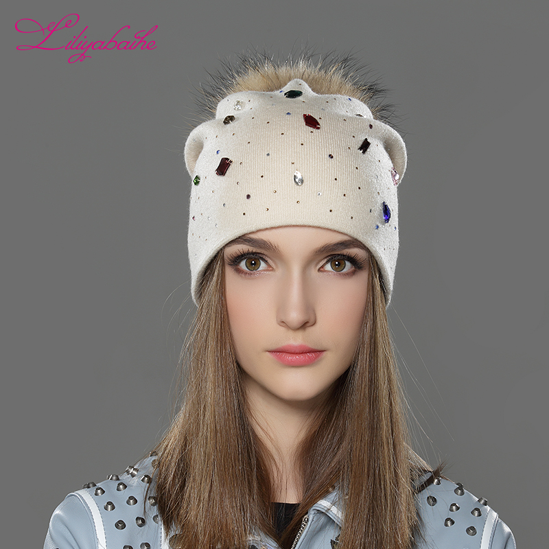 LILIYABAIHE Women Winter Hat wool Knitted   Beanies   Cap Real Raccoon Fur Pom Pom Hats Classic color diamond decoration decoration