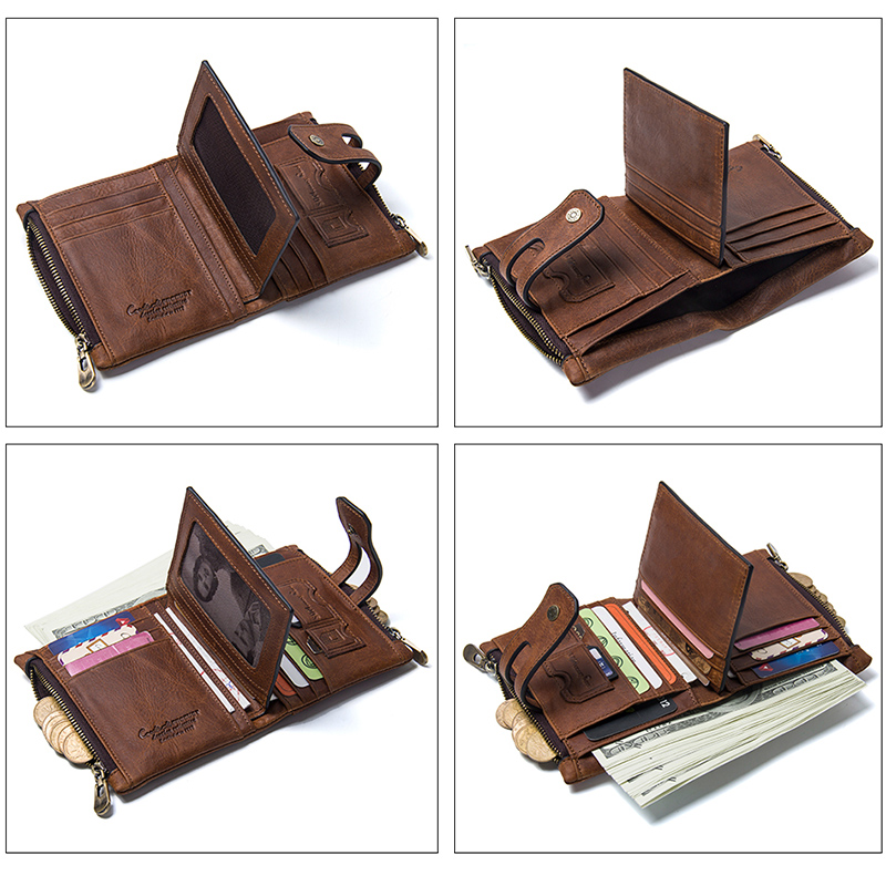 CONTACT'S Wallet Crazy Horse Genuine Leather Double Zipper Hasp Wallets Short Coin Purse With Card Holders Male portomonee Walet 4