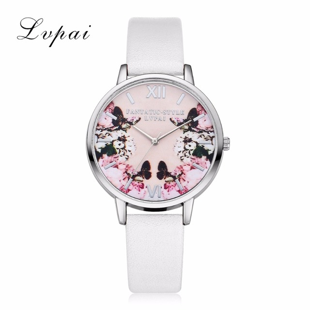Lvpai Luxury Leather Women Dress Watches Wristwatch Fashion Flower Butterfly Lad