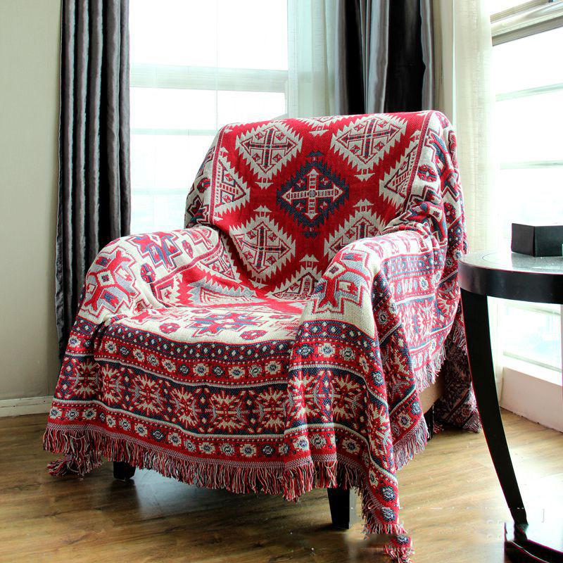 Blanket Sofa Cover: CHAUSUB Bohemian Style Thick Cotton Blankets Home Leisure