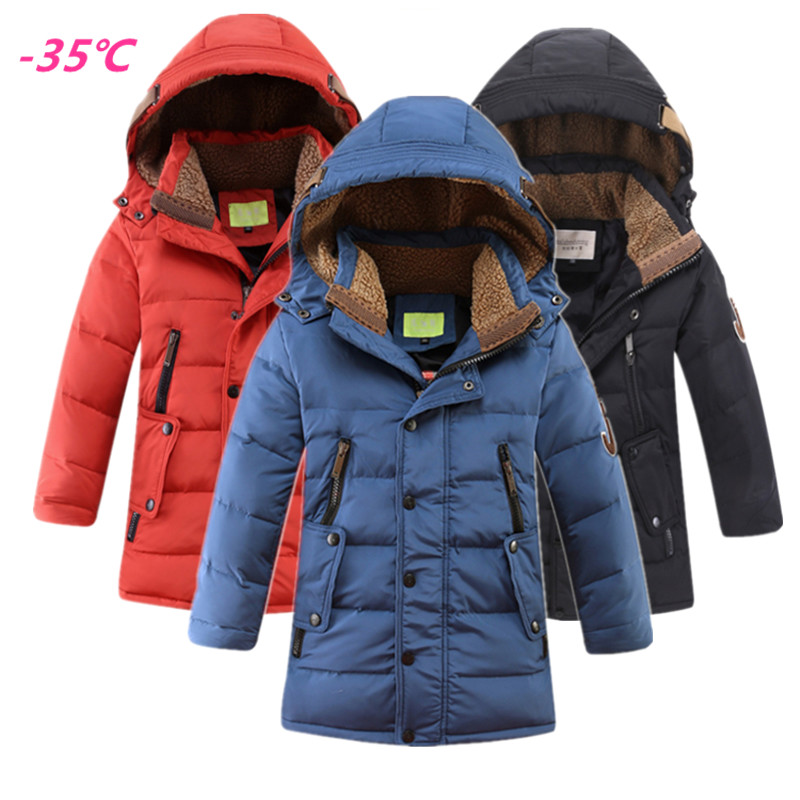 Winter Boys Thick White Duck Down Jackets 35 Degrees Children Long Warm Coats Boy Fashion Hooded