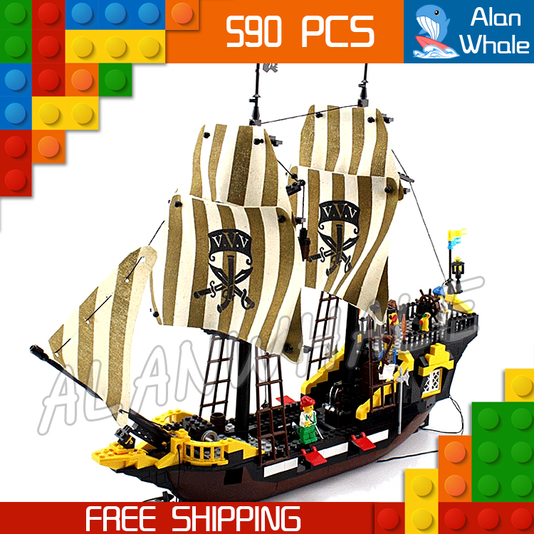 590pcs Movie Series Pirates of the Caribbean Ship 307 Assemble Model Building Blocks Adventure Bricks Toys Compatible With lego qiaoletong city pirates series pirates of the caribbean building blocks sets bricks model kids toys compatible legoing