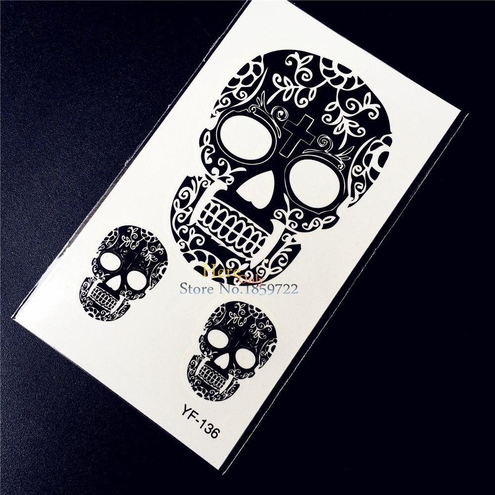 Skull Henna Tattoo: Black Henna Skull Temporary Removable Tattoo Health Non