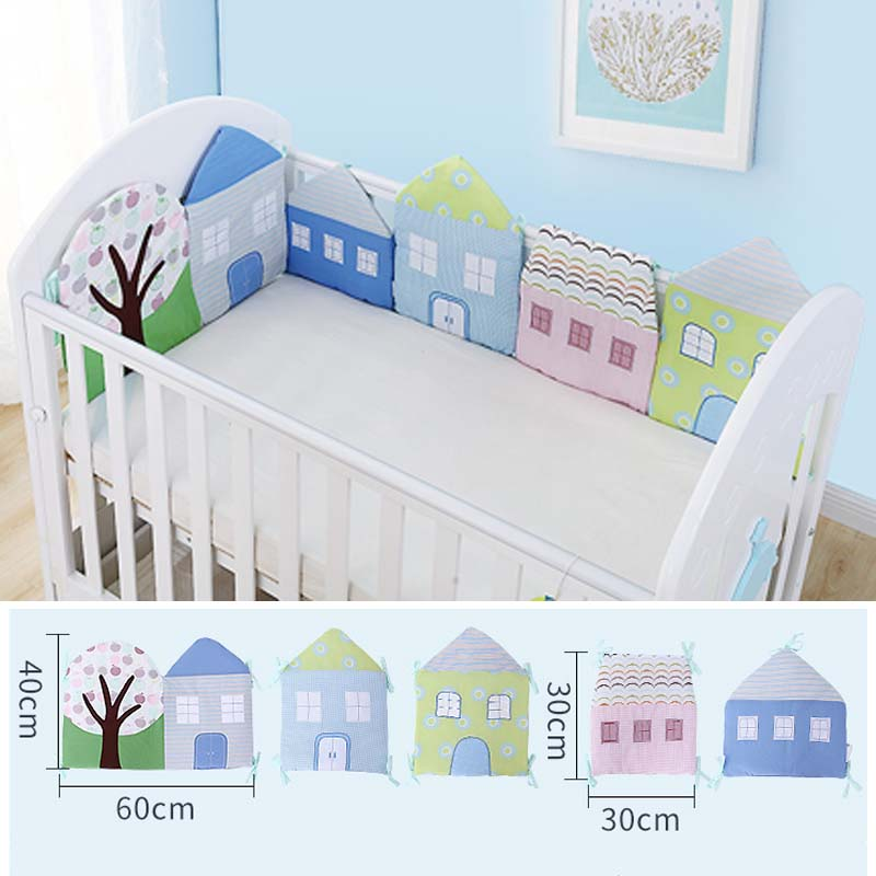 5PCS Little House Baby Room Crib Bumper Baby Bedding Set Newborn Bed Cotton Pillow Cushion Infant Crib Protector Cot Fence Decor