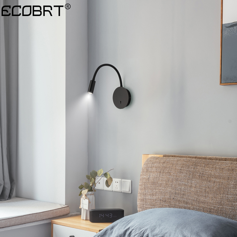 ECOBRT Modern LED 3W wall lamp for bedroom living room bedside lamp black white adjustable wall lights with switch
