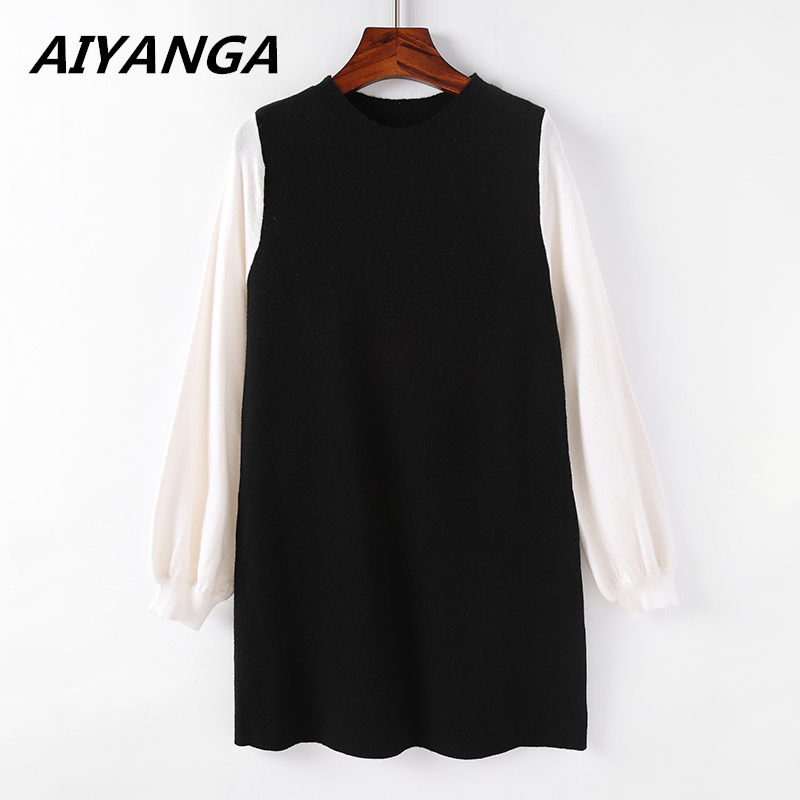 Woman Spring Winter Dress 2018 Knitted Dress O-neck Long Sleeve Women Sweater Dress Sweaters and Pullovers Women Clothing