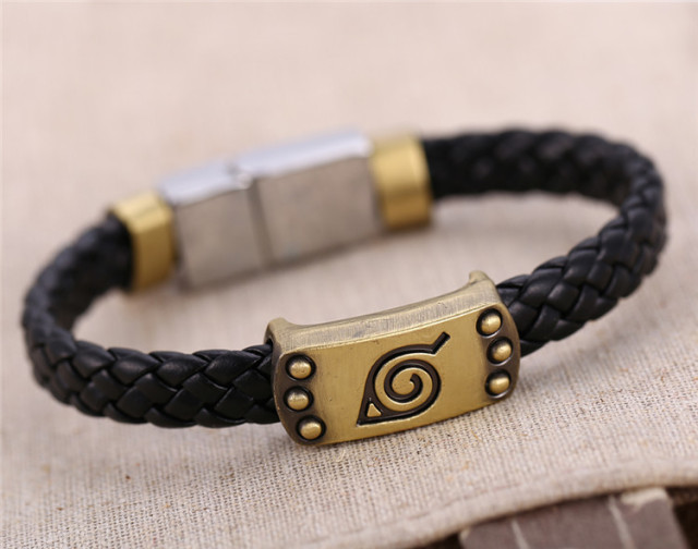 Konoha Logo Braid Leather Bracelets